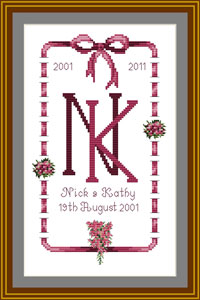 10th Wedding Anniversary Cross stitch sampler