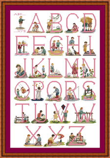 Traditional Cross stitch Alphabet for Girls