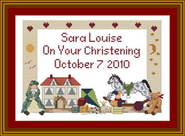 Traditional Girls Cross stitch birth sampler