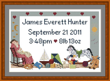 Cross stitch Birth Annoncement sampler