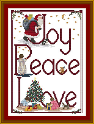 JOY, PEACE, LOVE - Christmas Cross stitch