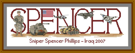 USA Military Counted Cross stitch sampler